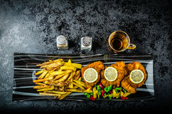 Schnitzel with french fries Royalty Free Stock Photography
