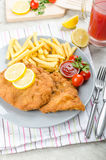 Schnitzel with french fries and a spicy dip Royalty Free Stock Photo