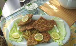 Schnitzel. Fried meat salad, adorned with lemon royalty free stock images
