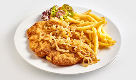 Schnitzel with fried onion stock images