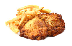 Schnitzel with fries Stock Photography
