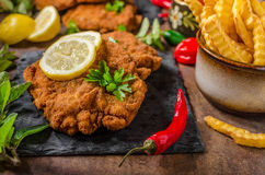 Schnitzel with fries, salad and herbs. Hot chilli tomato sauce Stock Images