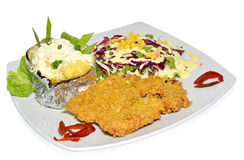 Schnitzel with garnish. Schnitzel with potatoes and salad Stock Photography