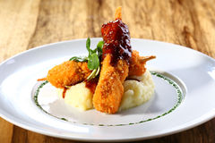 Schnitzel with mashed potatoes Stock Images