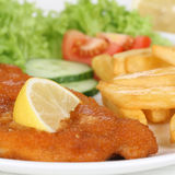 Schnitzel meal with french fries on plate Stock Image