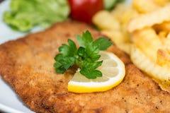 Schnitzel med chiper Royaltyfri Fotografi