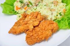 Schnitzel med rice Royaltyfria Foton