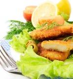 Schnitzel mit Gemüse Lizenzfreie Stockfotos