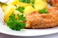 Schnitzel mit Kartoffeln Lizenzfreie Stockbilder