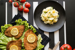 Schnitzel mit Kartoffelsalat stockbilder