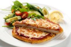 Schnitzel mit Salat Lizenzfreie Stockfotografie