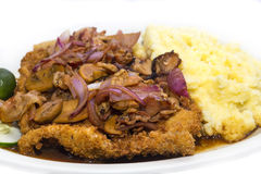 Schnitzel with mushrooms and mashed stock image