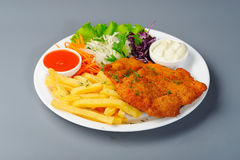Schnitzel with potato Stock Photos