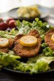 Schnitzel with potato salad royalty free stock photos