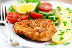 Schnitzel with potatoes Stock Image