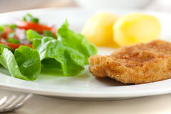 Schnitzel with potatoes and salad Stock Photo