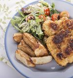 Schnitzel with potatoes and salad. Top view royalty free stock image