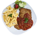 Schnitzel with Sauce (on white) Stock Photography