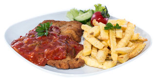 Schnitzel with Sauce (on white) Royalty Free Stock Photos