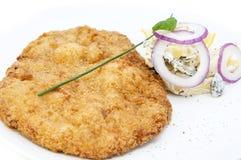Schnitzel. Vegetable salad at restaurant Royalty Free Stock Photo