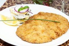 Schnitzel. Vegetable salad at restaurant Royalty Free Stock Image
