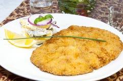 Schnitzel. Vegetable salad at restaurant Onion  Parsley Pork Stock Photos