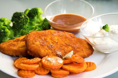 Schnitzel with vegetables. A balanced meal stock images
