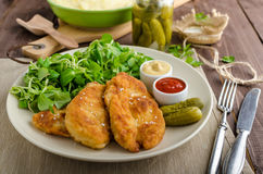Schnitzel With Mashed Potatoes And Salad Stock Photography
