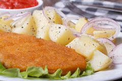 Schnitzel with young boiled potatoes horizontal. macro Royalty Free Stock Image
