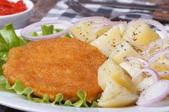 Schnitzel with young boiled potatoes and onion rings Stock Images