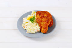 Schnitzels with potato salad Royalty Free Stock Image