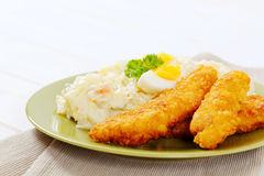 Schnitzels with potato salad Stock Image