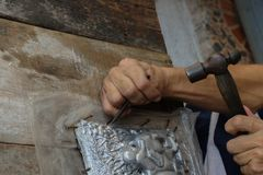 Schnitzen Sie Tafelsilber, Chiang Mai, Thailand stockfoto