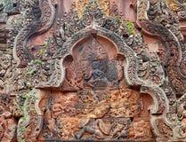 Schnitzen von Details an Tempel Banteay Srei Angkor Lizenzfreie Stockbilder