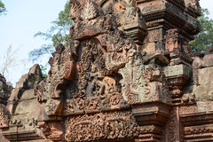 Schnitzen von mandapa bei Banteay Sreiz, Kambodscha Stockbilder