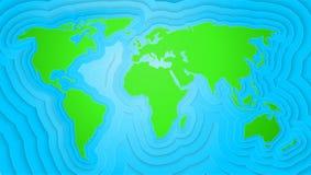 Schnitzende Papierkunst der Weltkarte des Origamis vector Illustration Stockfotografie