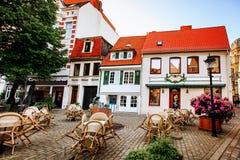 Schnoor est un secteur au centre médiéval de la ville de Brême images libres de droits