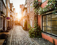 Schnoorviertel historique au coucher du soleil à Brême, Allemagne Photographie stock libre de droits