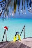 Schnorcheln des Gangs und des Weihnachtshutes auf einer hölzernen Anlegestelle lizenzfreie stockfotos