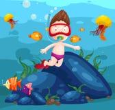 Schnorchelnder Meerscape netter Junge Lizenzfreies Stockfoto