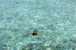 Schnorkelling at Maldives. A snorkeler explores the coral reefs Royalty Free Stock Images