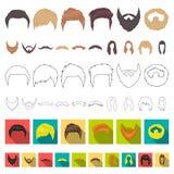 Schnurrbart und Bart, Frisurkarikaturikonen in der Satzsammlung für Design Stilvolles Haarschnittvektorsymbol-Vorratnetz vektor abbildung