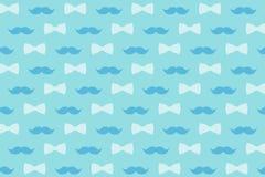 Schnurrbart und Fliege in den leicht blauen Tönen für Design, Tapete und Dekor lizenzfreie abbildung