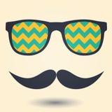 Schnurrbart- und Glasikone Lizenzfreie Stockbilder