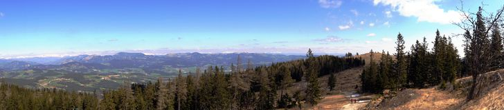 Schockl. Graz, Austria, styria. Panorama from Schockl. Graz, Austria, people walking on the mountains spring time Royalty Free Stock Photography