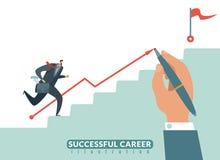 Schodek cel Ścieżka sukces biznesowa kariera, biznesmena schody celować i wzrostowy employeeman wektor, royalty ilustracja