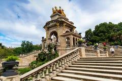 Schodek fontanna w Parc De Los angeles Ciutadella, Barcelona, Hiszpania zdjęcia royalty free