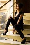 schodek retro siedząca kobieta obraz royalty free