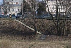 Schodki i droga w Polskim miasteczku Obraz Stock