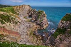 Schodowa dziura blisko Lulworth w Dorset, Anglia zdjęcie stock